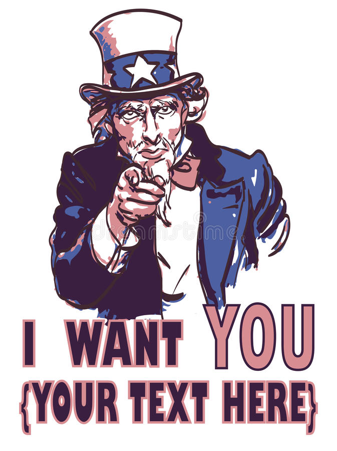 Vector vintage patriotic poster with signature I want you and your text for your design. vector illustration