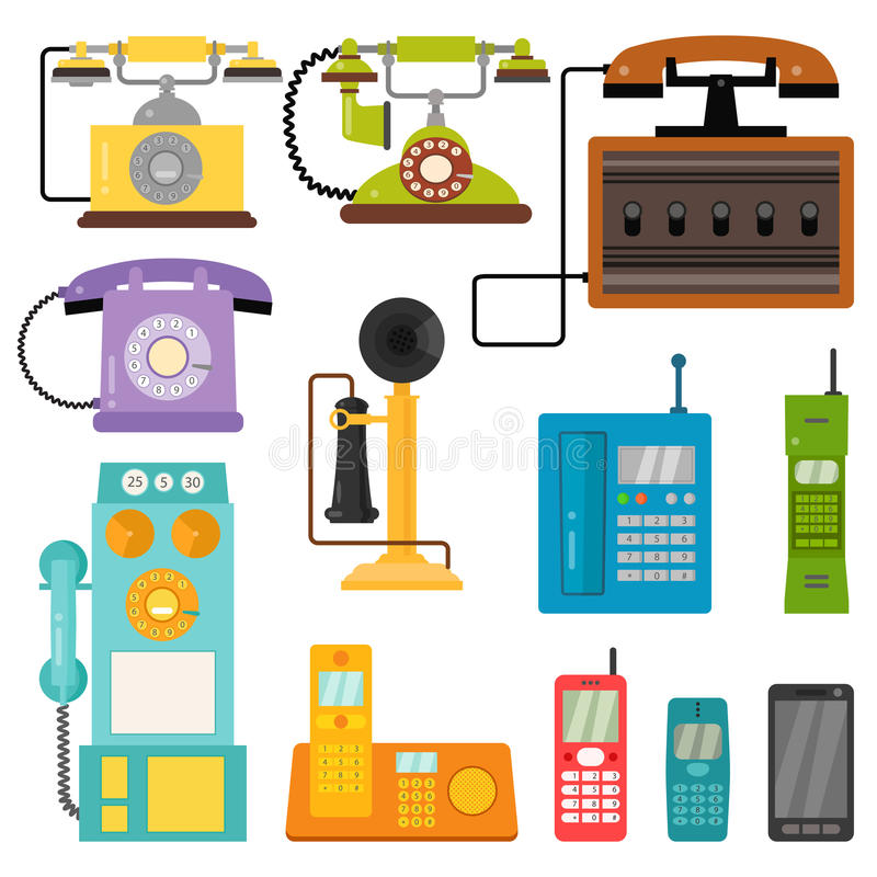 Vector vintage phones retro lod telephone call number connection device technology telephonic illustration vector illustration