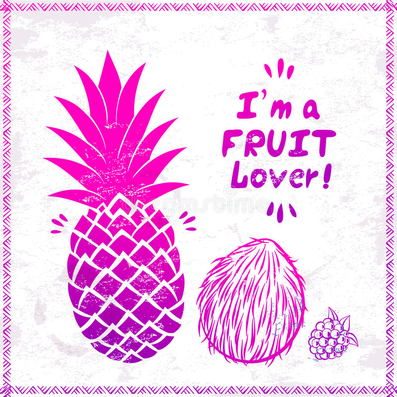 Vector Vintage pink pineapple. And coconut illustration royalty free illustration