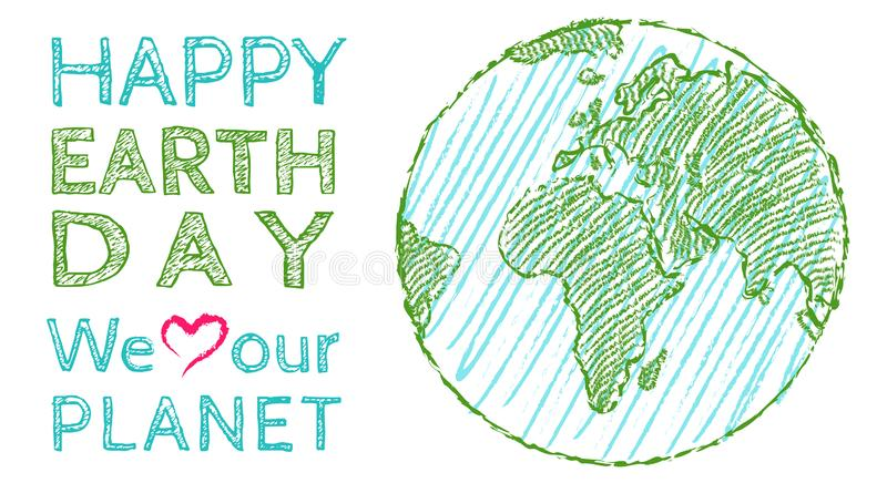 Earth day 22 april. Vector vintage poster for Earth day. Earth day 22 april. We love our planet vector illustration