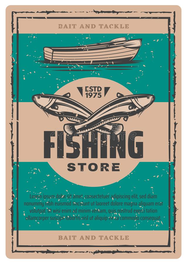 Vector vintage poster of fishing boat and fish stock illustration