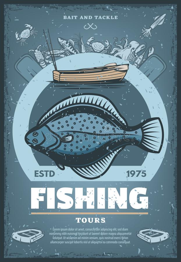 Vector vintage poster for fishing tours stock illustration