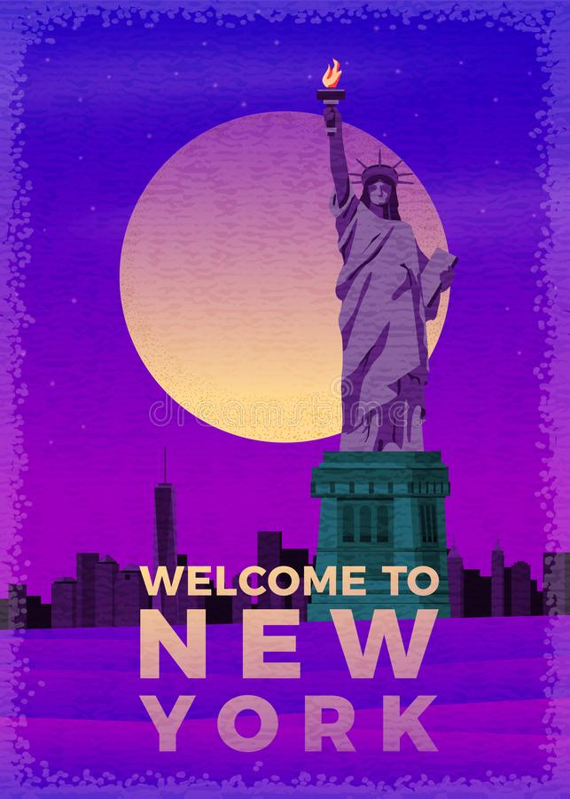 Vector vintage poster Liberty Statue with New York stock illustration