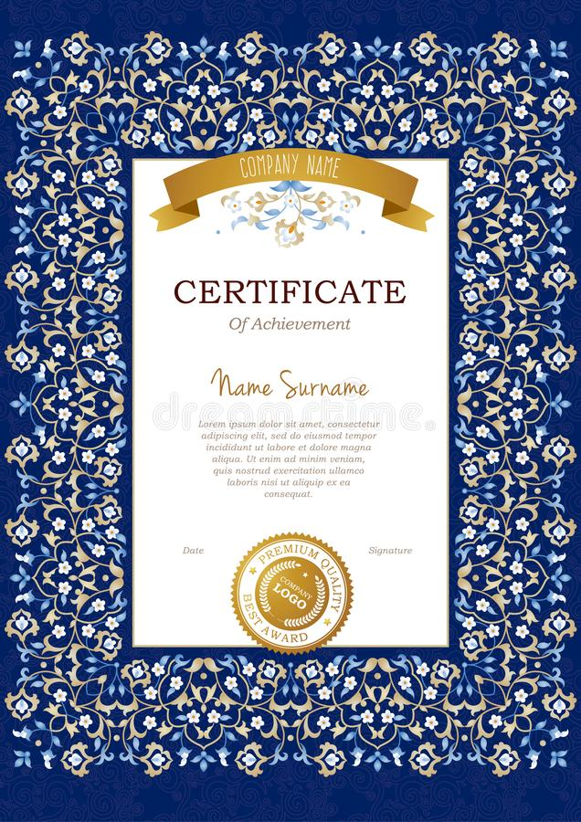 Vector vintage pre-made certificate in Eastern style stock illustration