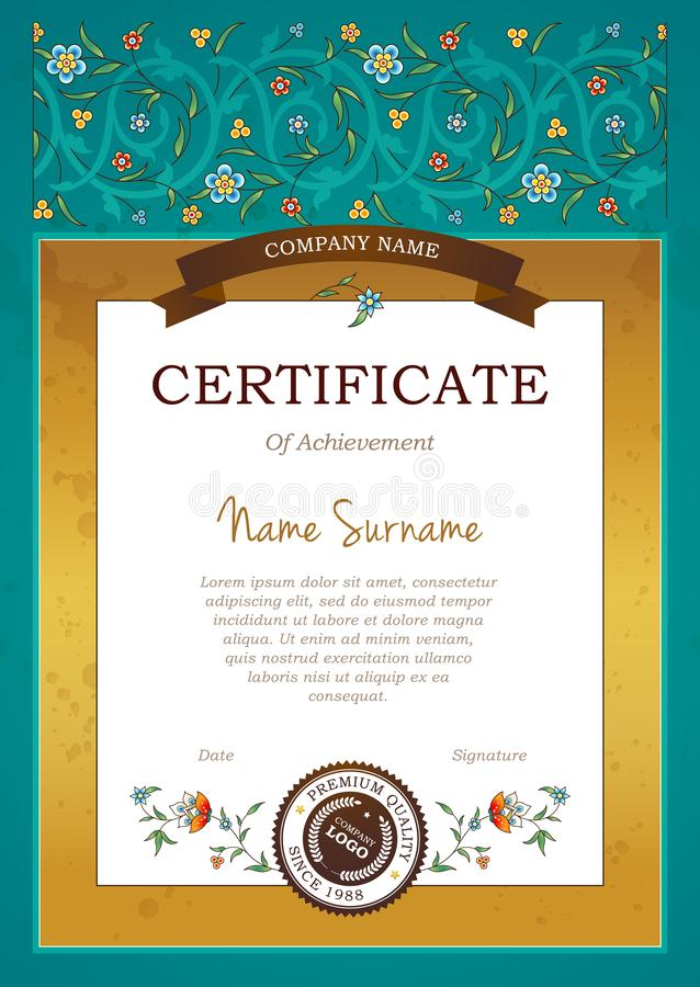 Vector vintage pre-made certificate in Eastern style royalty free illustration