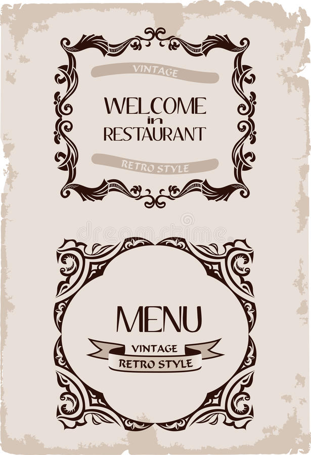 Download Vector Vintage Restaurant Retro Frame Paper Stock Photo - Image: 19198580