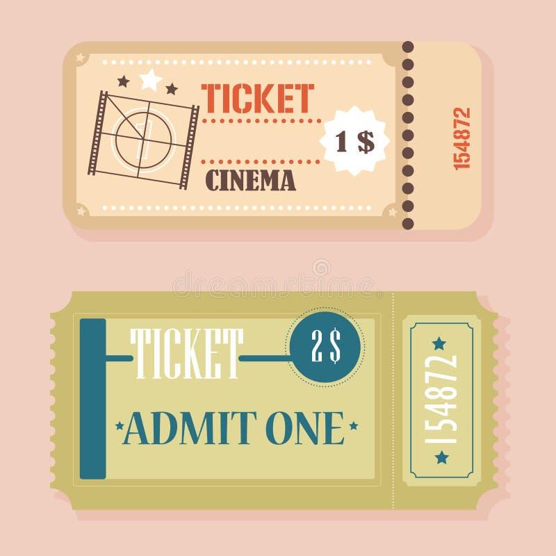 Vector Vintage Retro cinema tickets concept. stock illustration