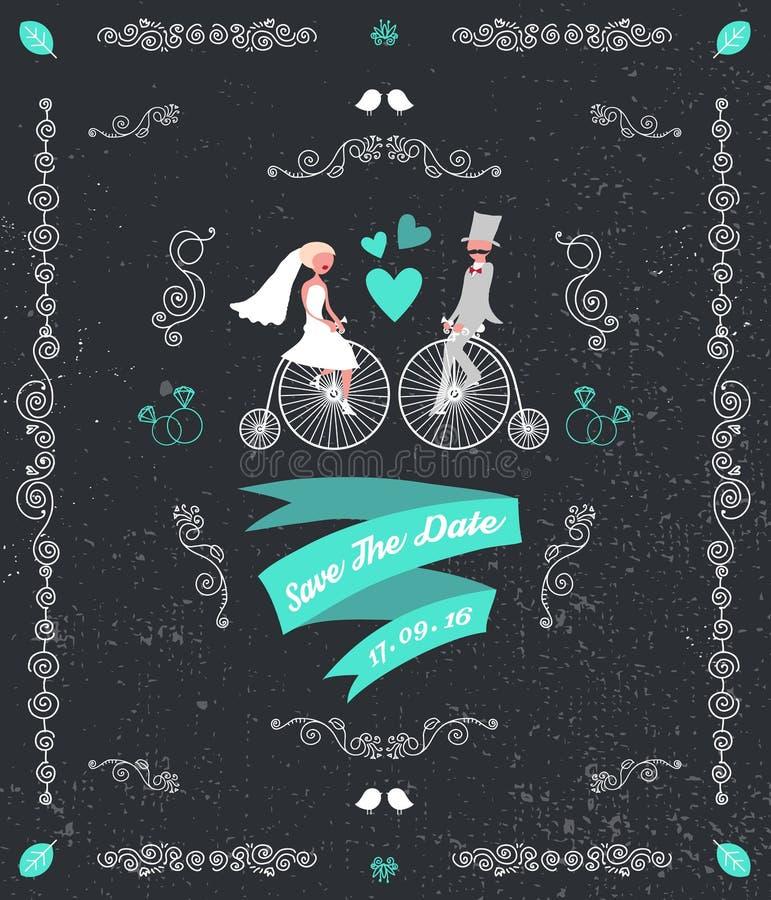 Vector vintage retro wedding invitation, hand drawn design elements. Groom and bride sitting on bicycles. Black background stock illustration