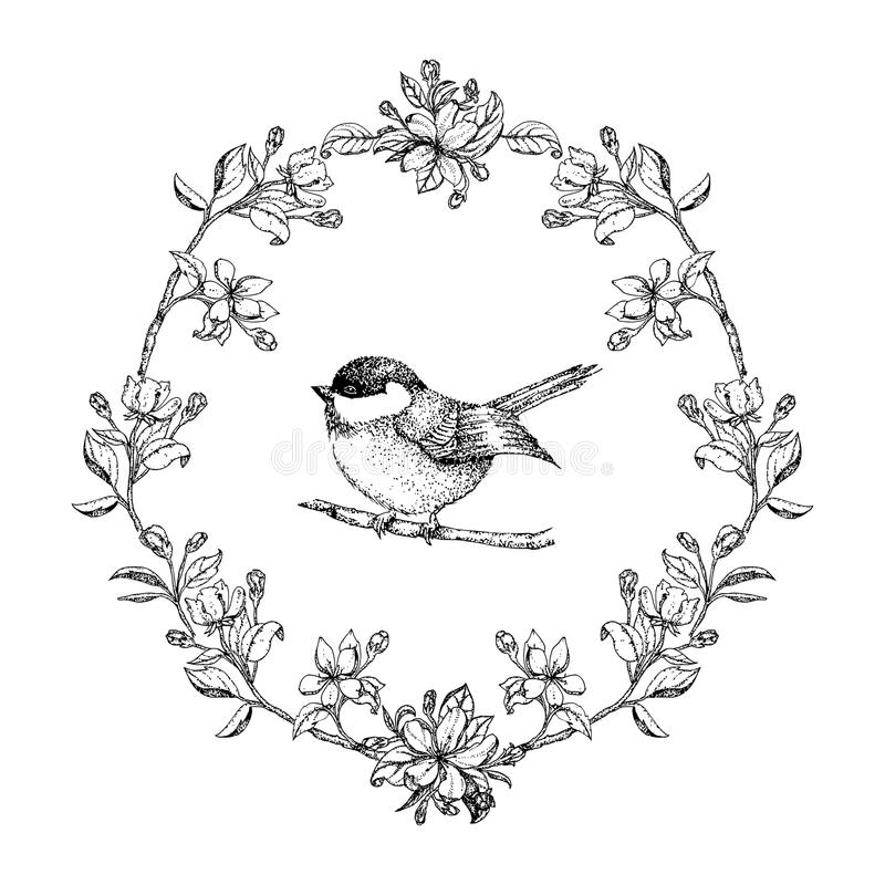 Flowers Made Black Brids: Vector Vintage Round Frame With Birds And Apple Flowers