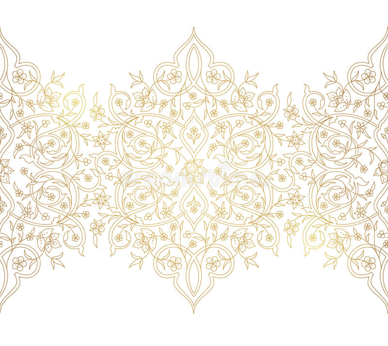 Vector vintage seamless border in Eastern style. Vector vintage decor; ornate seamless border for design template. Eastern style element. Luxury floral royalty free illustration