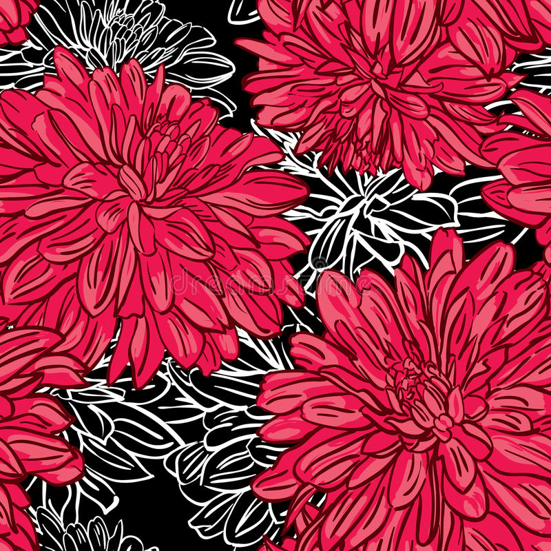 Vector vintage seamless floral pattern with peonies stock illustration