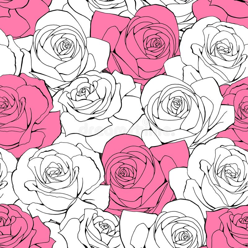 Vector vintage seamless pattern. White pastel outline rose flowers vector illustration