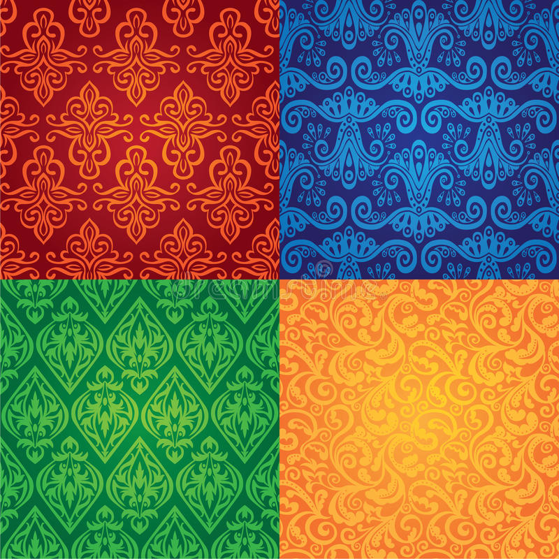 Vector vintage seamless patterns. Set of vintage seamless patterns stock illustration