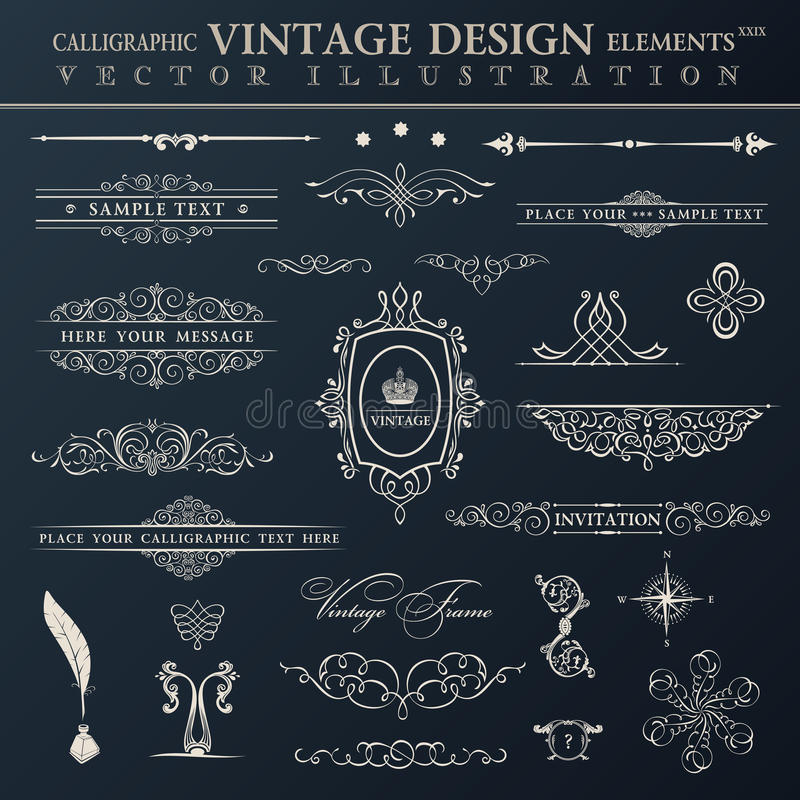 Vector vintage set. Calligraphic elements and page decoration pr stock illustration