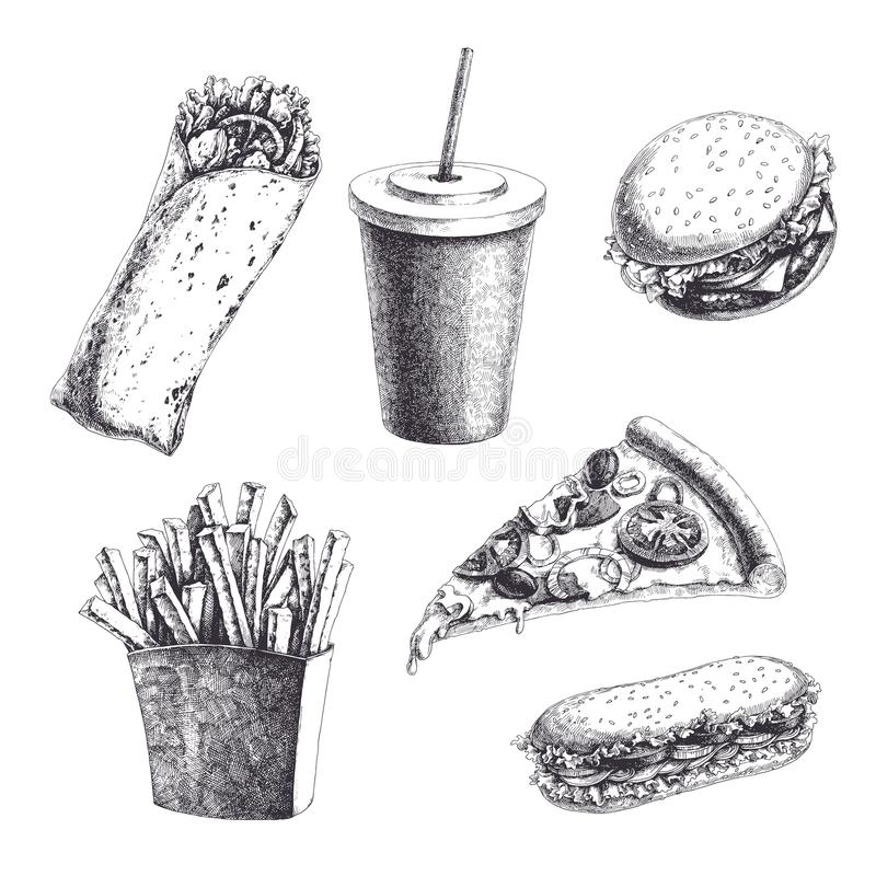 Vector vintage set with engraved fast food illustrations. Hand d royalty free illustration