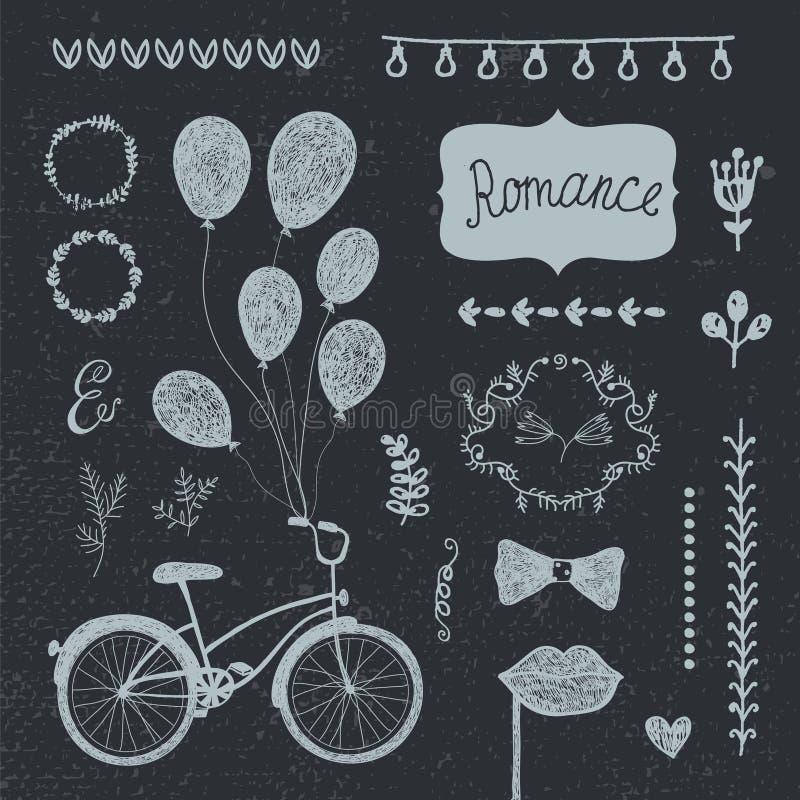 Vector vintage set of hand drawn romantic design elements, wedding invitation collection. stock illustration