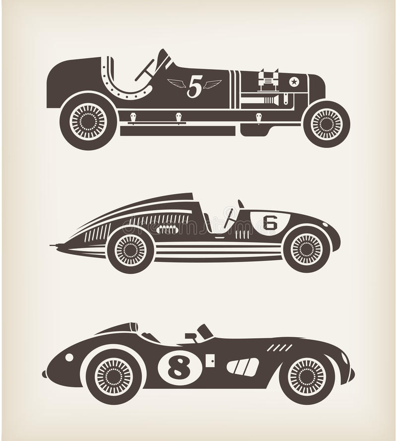 Vector Vintage Sport Racing Cars Royalty Free Stock Photo