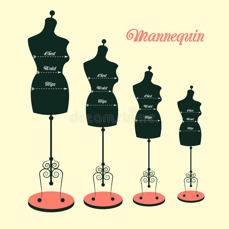 Vector vintage tailor's mannequin royalty free illustration