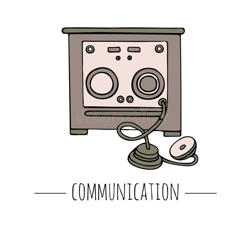 Vector vintage telegraph. Retro illustration of radio receiver. vector illustration