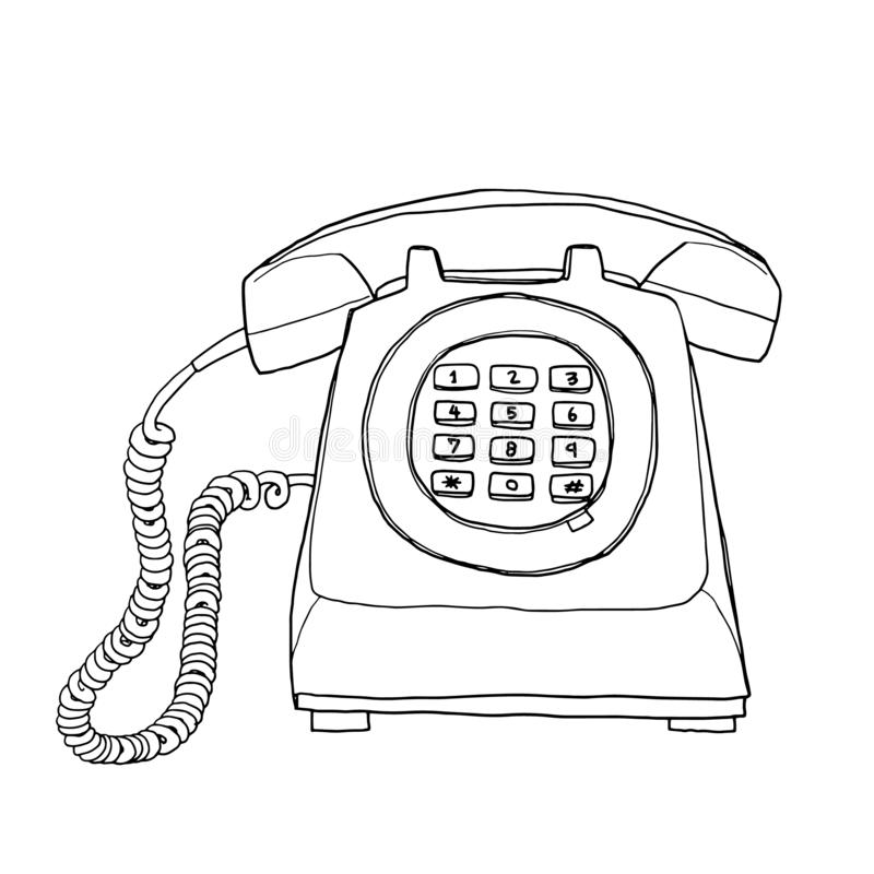 Vector Vintage  telephone hand drawn line art painting cute illustration vector illustration