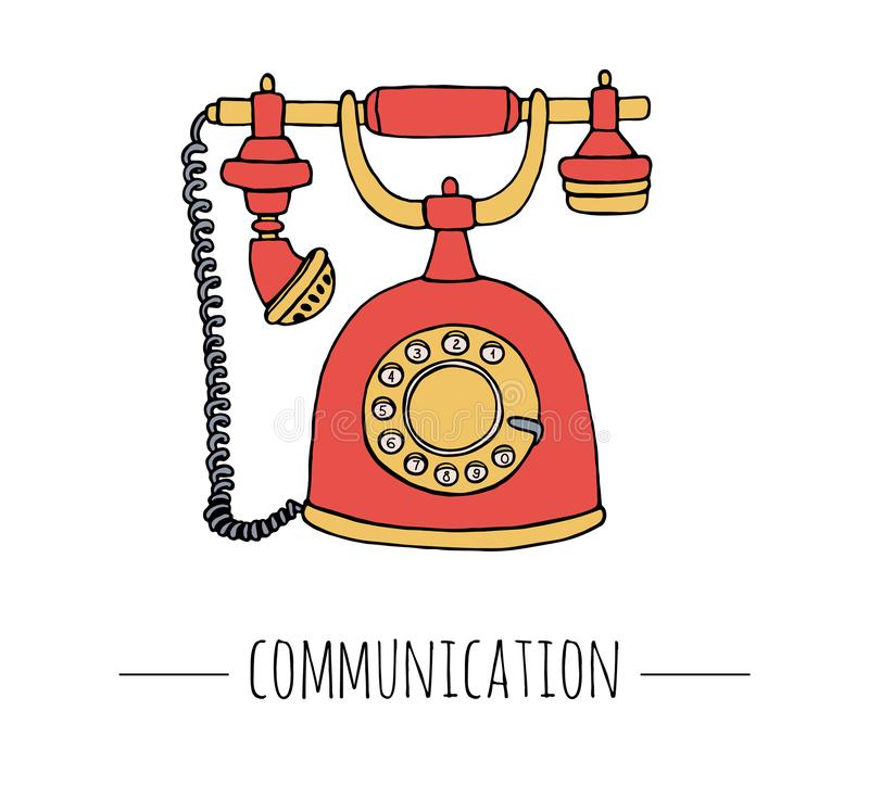Vector vintage telephone. Retro illustration of wired rotary dial telephone vector illustration