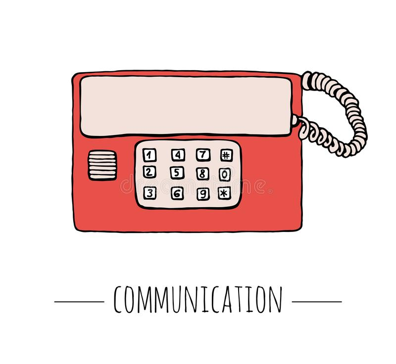 Vector vintage telephone. Retro illustration of wired rotary dial telephone. vector illustration