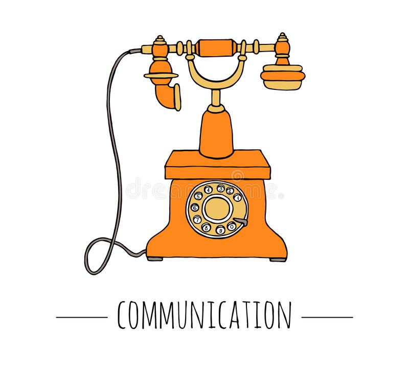 Vector vintage telephone. Retro illustration of wired rotary dial telephone. royalty free illustration