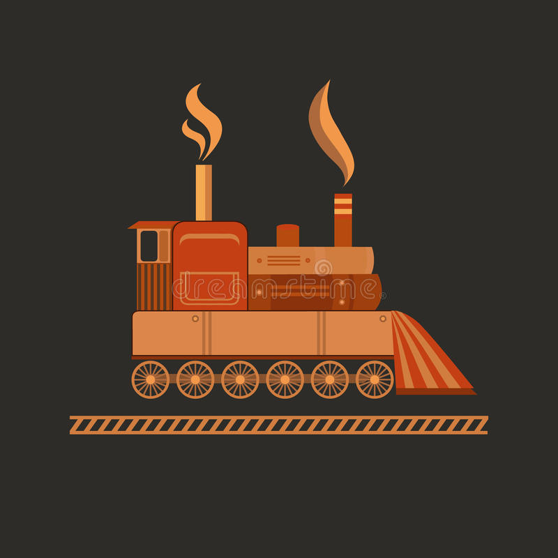 Vector vintage train. Vector illustration of a vintage train. Retro train. Background for invitation card, banner, postcard, poster. Steampunk style. Flat vector illustration