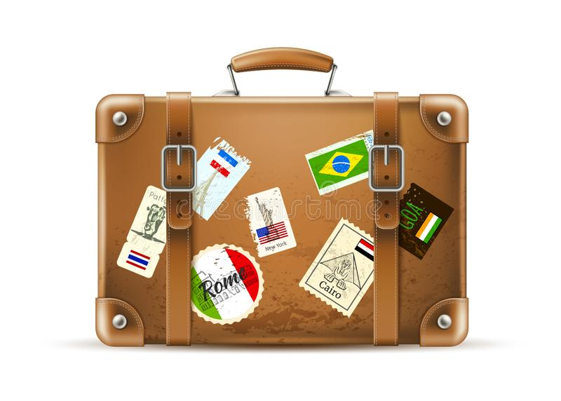 Vector vintage travel bag leather brown suitcase vector illustration
