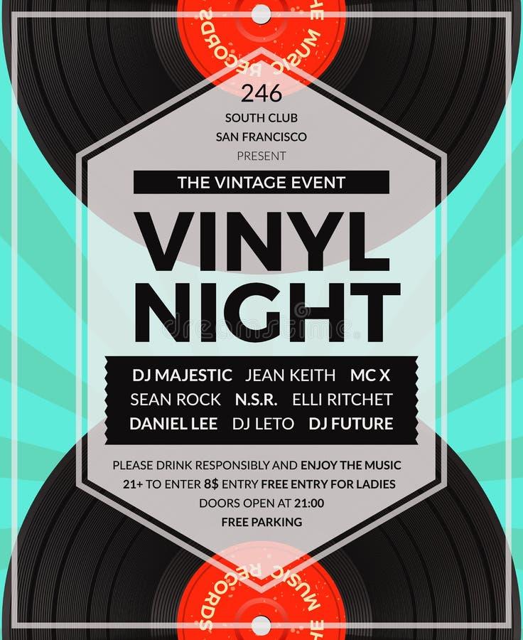 Vector vintage vinyl LP DJ party poster vector illustration
