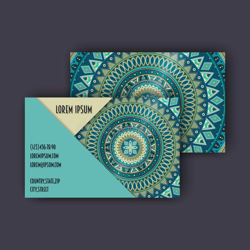 Vector vintage visiting card set. Floral mandala pattern and ornaments. Oriental design Layout. Islam, Arabic, Indian, ottoman mot. Ifs. Front page and back page stock illustration