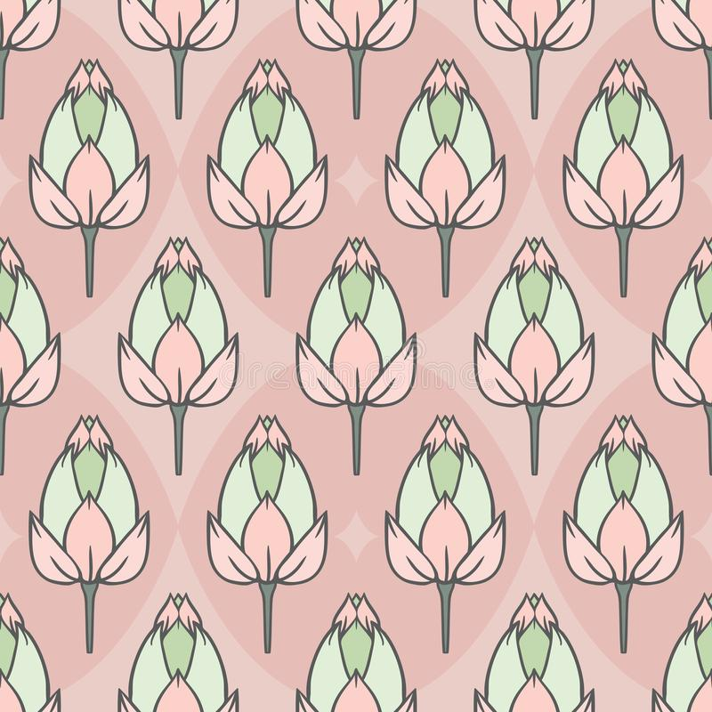 Vector Vintage Water Lily Field in Pastels with Rhombus seamless pattern background. Perfect for fabric, wallpaper and scrapbooking projects stock illustration