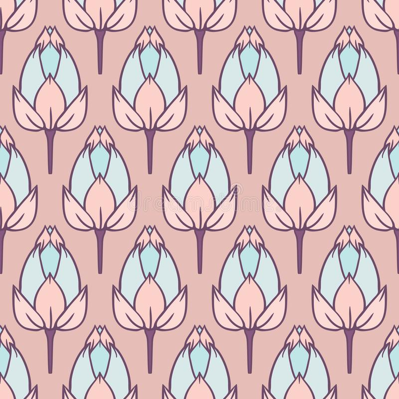 Vector Vintage Water Lily Field in Pastels seamless pattern background. Perfect for fabric, wallpaper and scrapbooking projects royalty free illustration