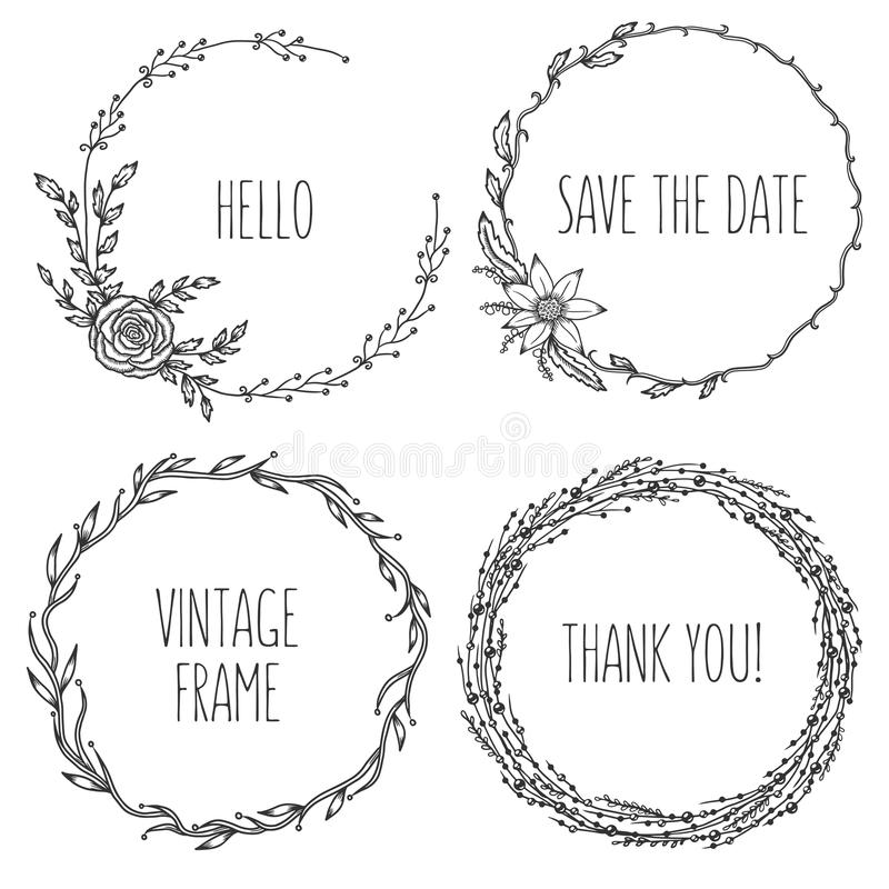 Vector vintage wreaths. Collection of trendy cute vector illustration