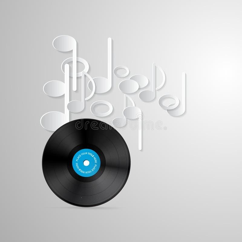 Vector Vinylverslagschijven en Document Nota's stock illustratie
