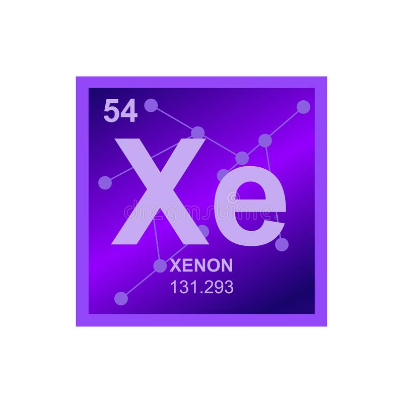 Vector violet or purple symbol of xenon on the background from connected molecules. vector illustration