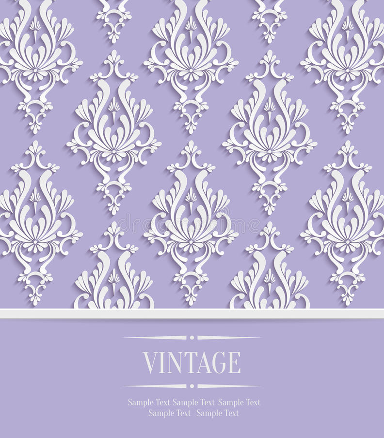 Vector Violet Vintage Invitation Card with 3d Floral Damask Pattern vector illustration