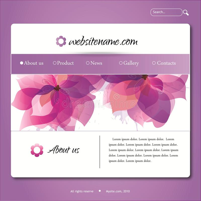 Vector violet web site design template. With flowers