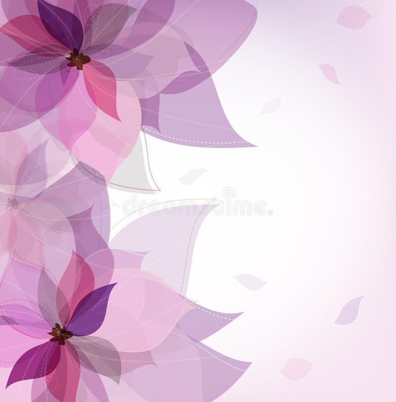 Vector violette bloemkaart stock illustratie