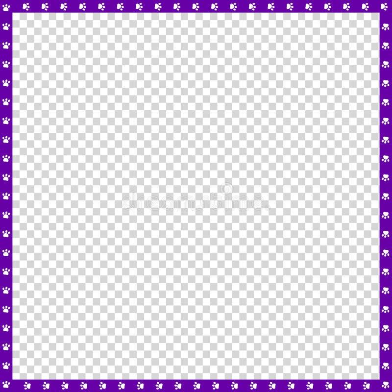 Vector violette en witte vierkante die grens van dierlijke geïsoleerde potendruk wordt gemaakt vector illustratie