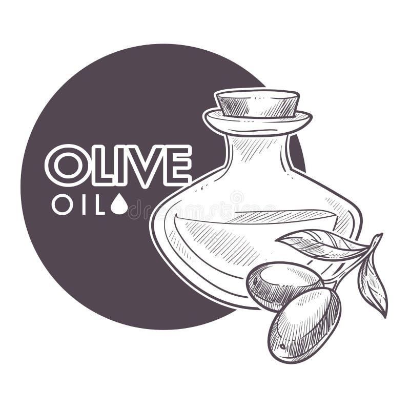 Vector virginal del aceite de oliva, monocromático adicional del cartel del esquema del bosquejo stock de ilustración