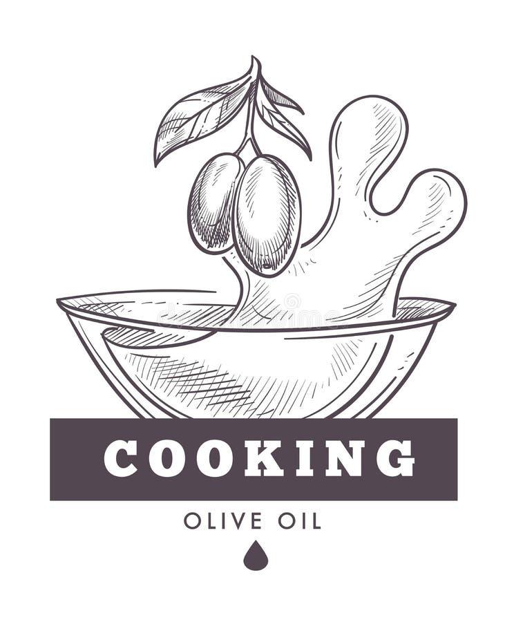 Vector virginal del aceite de oliva, monocromático adicional del cartel del esquema del bosquejo libre illustration