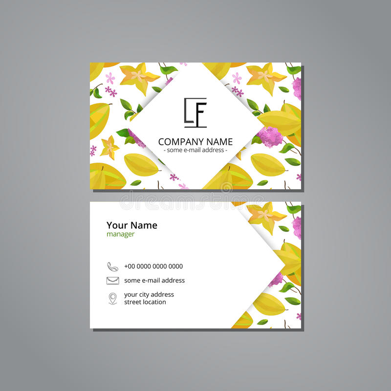 Vector visit card template with pattern carambola and flower stock download vector visit card template with pattern carambola and flower stock vector illustration of gradient mightylinksfo