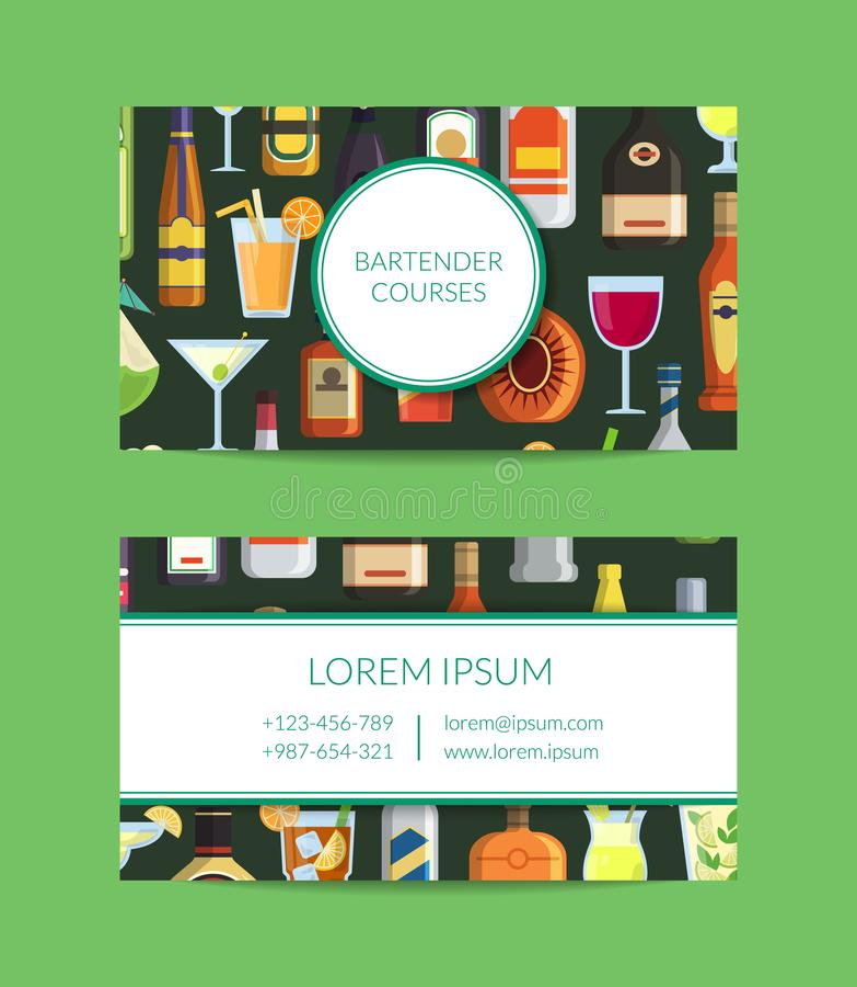 Vector Visitenkarteschablone für Bar mit alkoholischen Getränken in den Gläsern und in den Flaschen in der flachen Art vektor abbildung