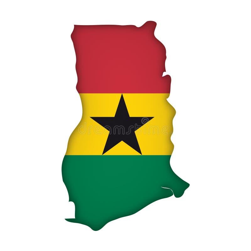 Vector Vlag Ghana royalty-vrije illustratie