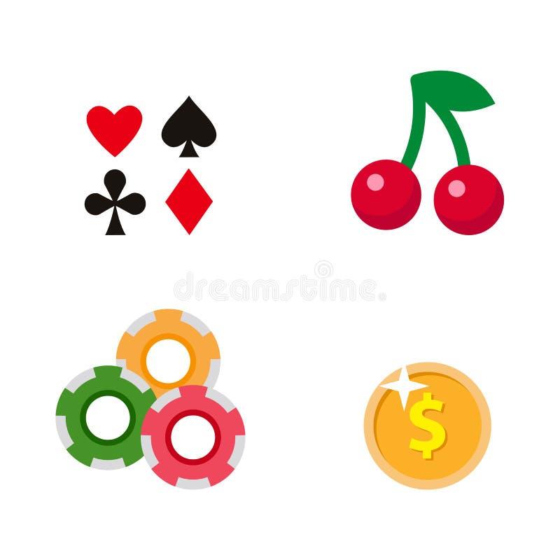 Vector vlak beeldverhaalcasino, het gokken geplaatste symbolen stock illustratie