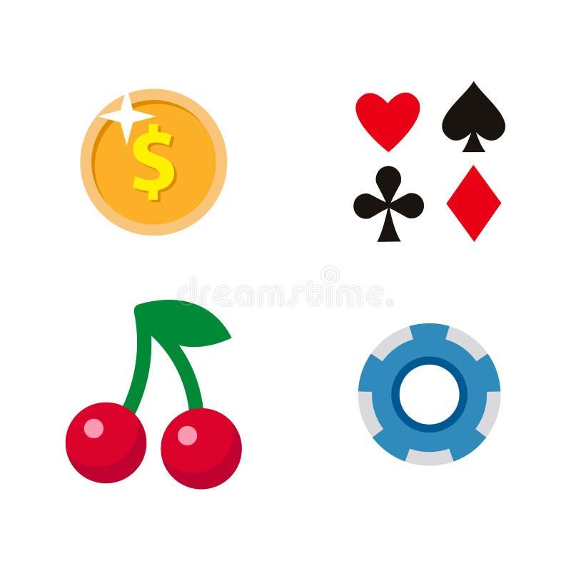 Vector vlak beeldverhaalcasino, het gokken geplaatste symbolen royalty-vrije illustratie