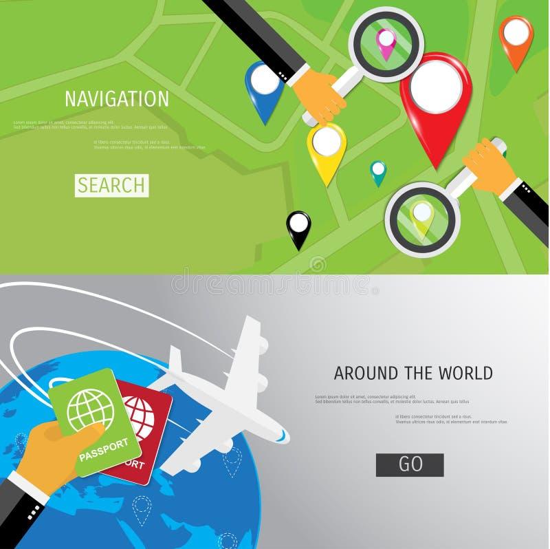 Vector vlak concept Wereldreis en toerisme stock illustratie