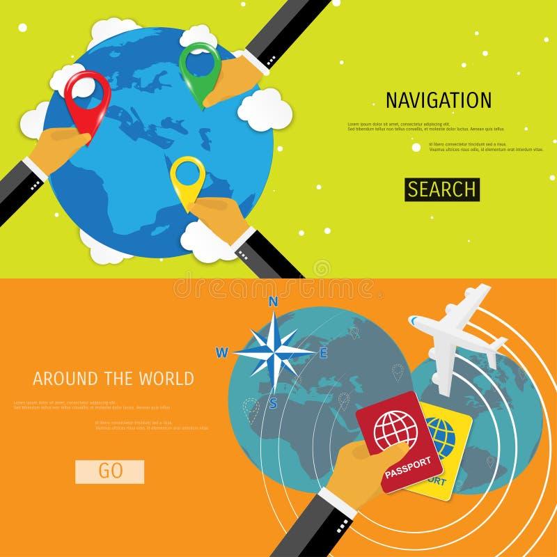 Vector vlak concept Wereldreis en toerisme vector illustratie
