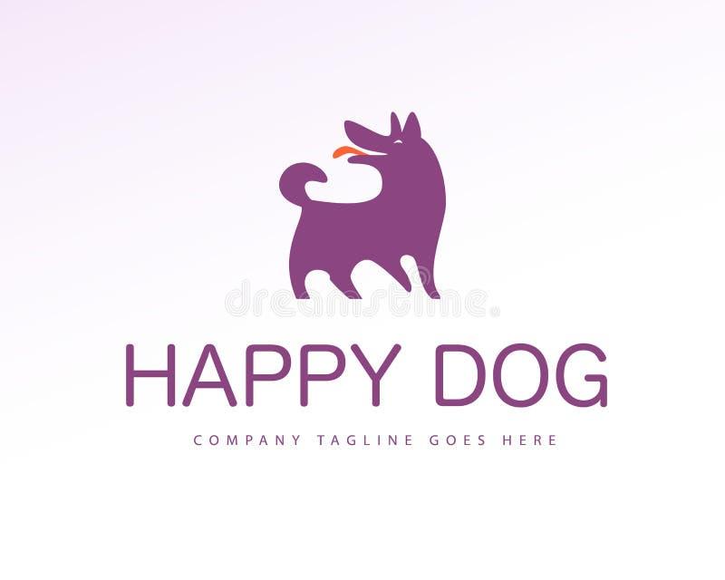 Vector vlak eenvoudig embleem met gelukkige die het pictogramtribune van het hondsilhouet op witte achtergrond wordt geïsoleerd stock illustratie